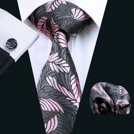 Set cravata + batista + butoni matase naturala model negru cu roz 220 [1]