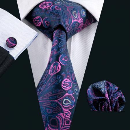 Set cravata + batista + butoni matase naturala model negru cu roz 483 [1]