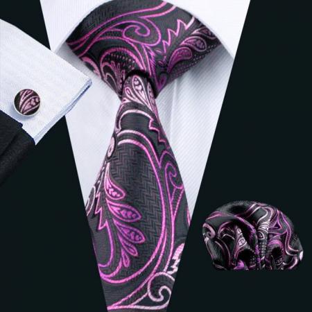 Set cravata + batista + butoni matase naturala model negru cu roz 564 [1]