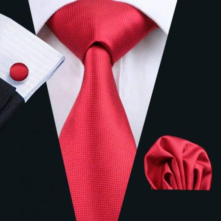 Set cravata + batista + butoni matase naturala model rosu 206 [1]