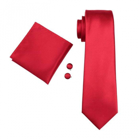 Set cravata + batista + butoni matase naturala model rosu 206 [0]