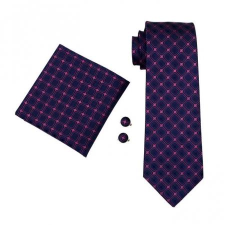 Set cravata + batista + butoni matase naturala model roz 491 [0]