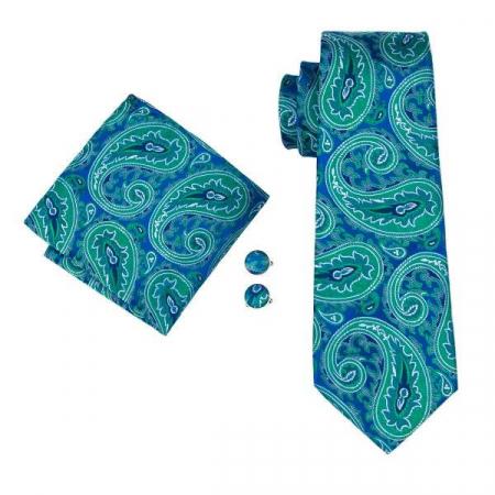 Set cravata + batista + butoni matase naturala model verde 1615 [0]