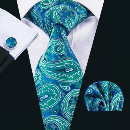 Set cravata + batista + butoni matase naturala model verde 1615 [1]