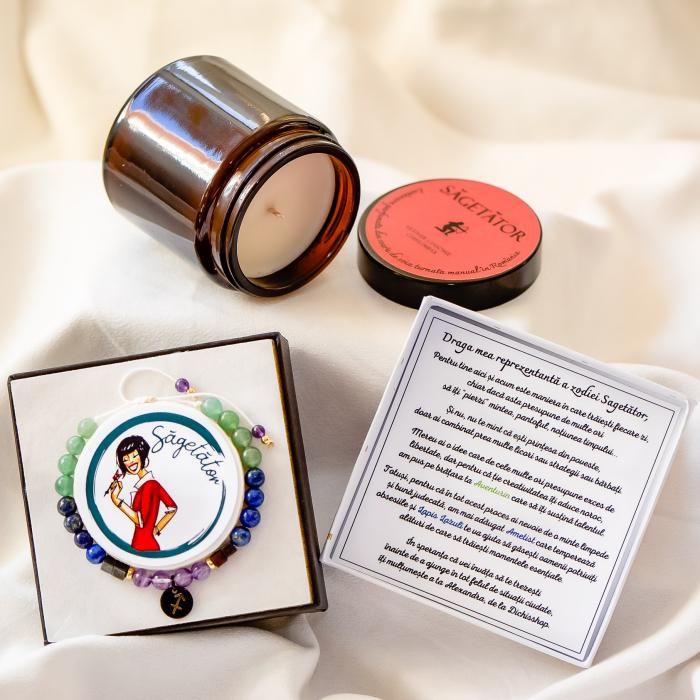 Săgetător - Lumânare Parfumată Și Brățară Semiprețioasă - Pachet Cadou Zodie [0]