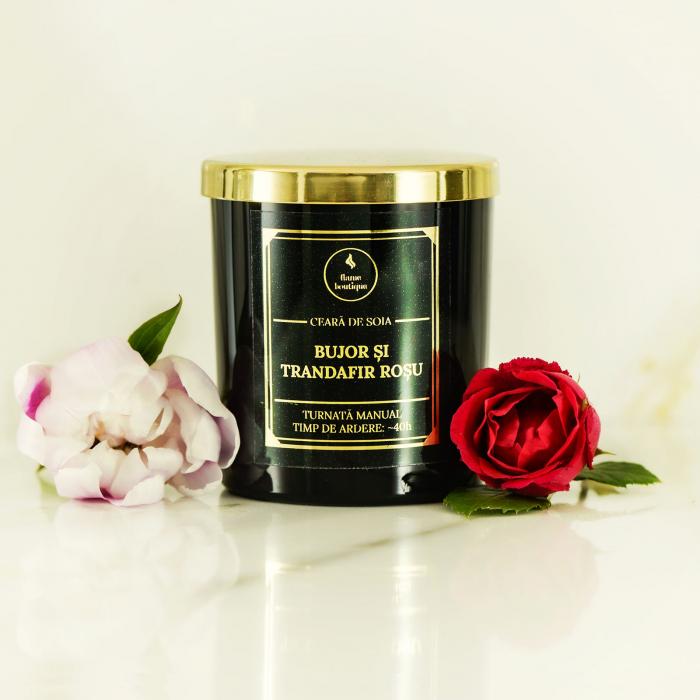 lumanare parfumata din ceara de soia premium negru bujor si trandafir rosu [0]