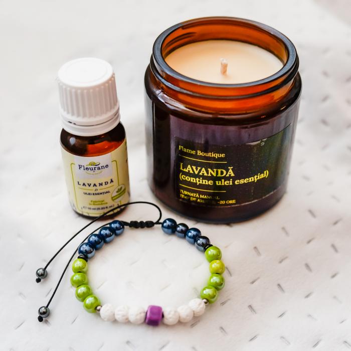 Pachet Relaxare, Lumânare Parfumată Cu Lavandă + Brățară Din Rocă Vulcanică + Ulei Esențial Lavandă Fleurene + Ambalaj Premium [4]