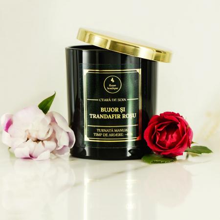 lumanare parfumata din ceara de soia premium negru bujor si trandafir rosu [1]