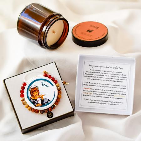 Taur - Lumânare Parfumată Și Brățară Semiprețioasă - Pachet Cadou Zodie [0]