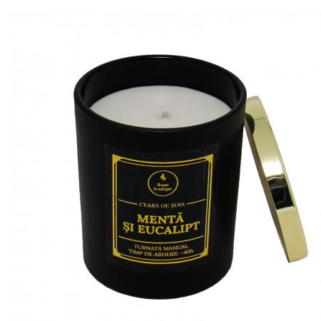 Lumânare parfumată din ceară de soia Mentă și eucalipt | Premium Negru2