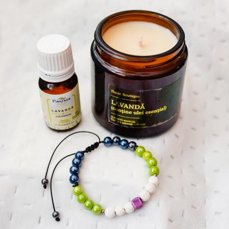 Pachet Relaxare, Lumânare Parfumată Cu Lavandă + Brățară Din Rocă Vulcanică + Ulei Esențial Lavandă Fleurene + Ambalaj Premium [2]