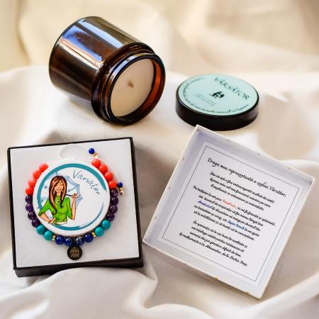 Vărsător - Lumânare Parfumată Și Brățară Semiprețioasă - Pachet Cadou Zodie [0]