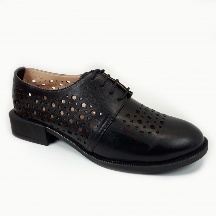 Pantofi dama casual perforati din piele naturala COD-714 0