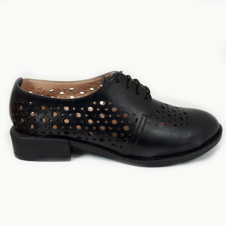 Pantofi dama casual perforati din piele naturala COD-7141