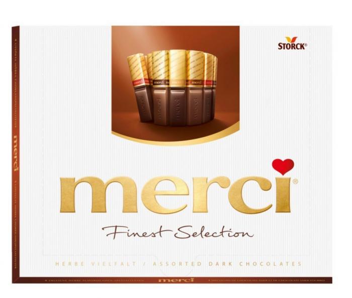 Praline de ciocolata asortata Merci, Dark, 250 g 0