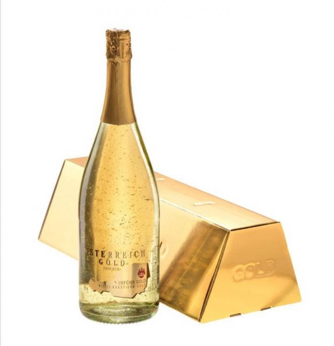 Vin Spumant cu Foiță de Aur 23k, Osterreich Gold - 750 ml + cutie 0