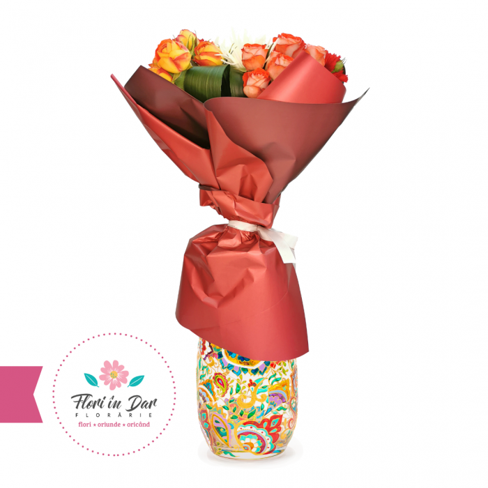 Buchet din trandafiri, miniroze și crizantema Florarie online Roman [0]