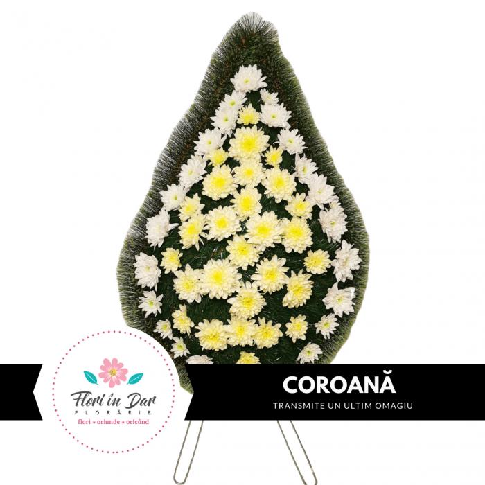 Coroana funerara cu crizantema livrare Roman [0]