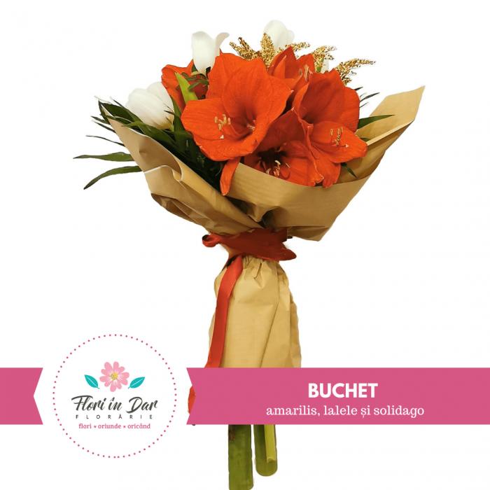 Buchet flori cu amarilis, lalele și solidago [0]