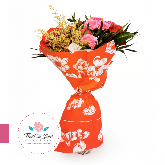 floraria flori in Dar Buchet de flori cu trandafiri, miniroze, gerbera amarilis și solidago [0]