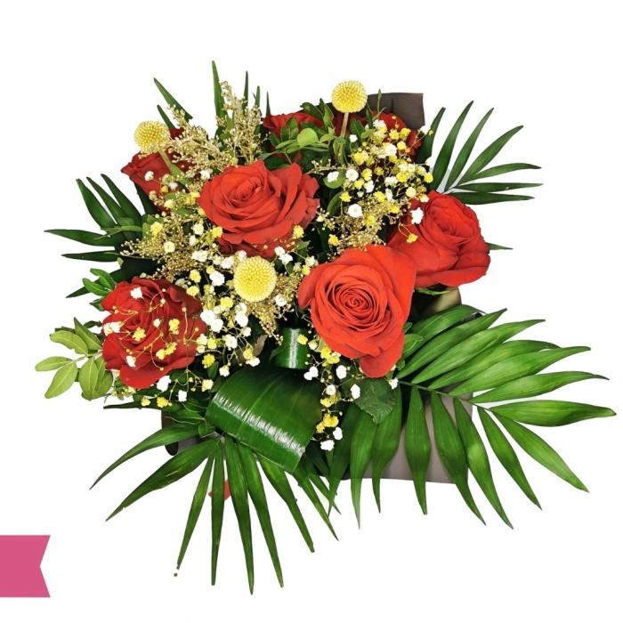 Buchet trandafir, gipsofila, craspedia, solidago [1]