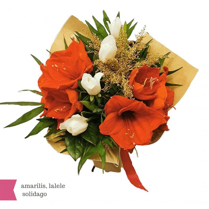 Buchet flori cu amarilis, lalele și solidago [1]