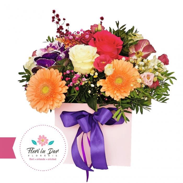 Aranjament floral cu trandafir, gerbera, eustoma, heleborus, brassica, gipsofila,aranjamente florale [0]