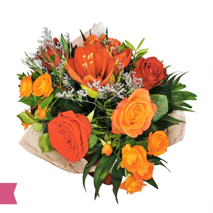 Buchet cu trandafiri și amarilis [1]