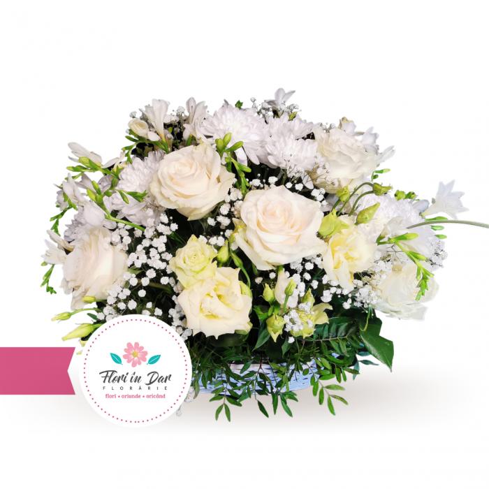 Aranjament cos trandafir frezie crizantema gipsofila eustoma [0]