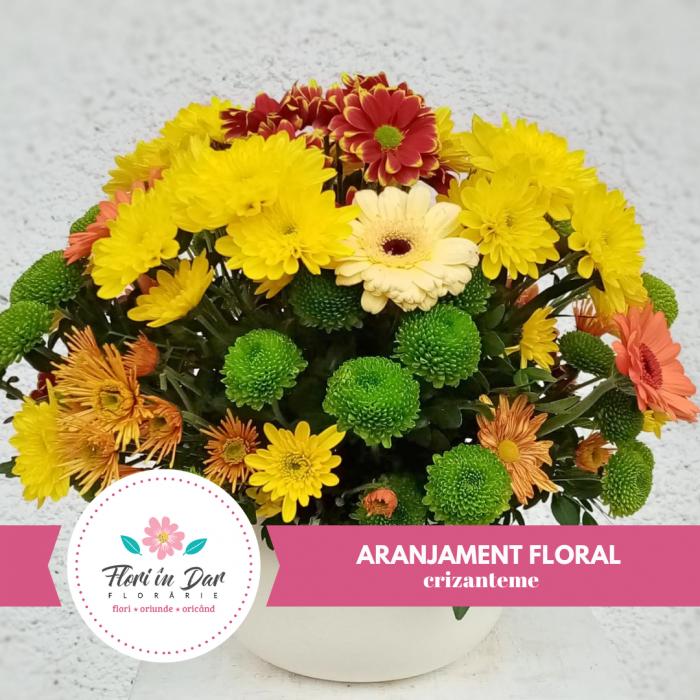 Aranjament floral crizanteme,florarie cu livrare Roman [0]