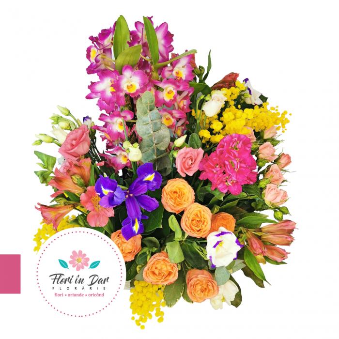 Aranjament cu dendrobium, mimosa, miniroze, Iris, alstroemeria, frezie florarie Roman [1]