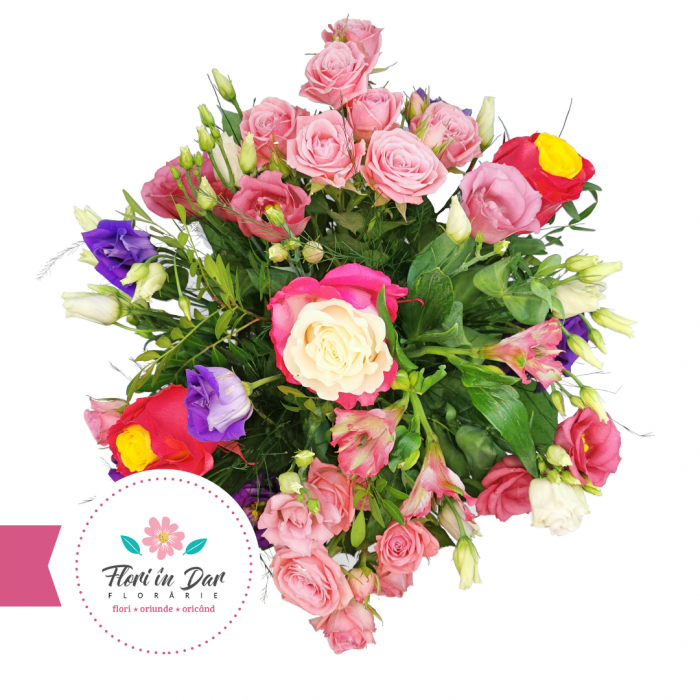 Aranjament cu miniroze, eustoma, alstroemeria, trandafiri floraire cu livrare Roman [1]