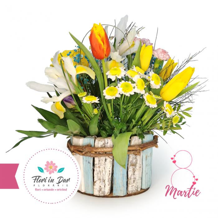 Aranjament de primăvară cu lalele florarie online Roman [0]