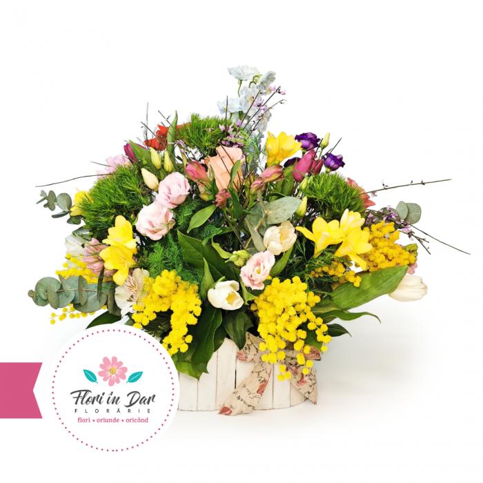 Aranjament de primăvară cu mimosa, lalele, miniroze, eustoma, frezie,  diantus, alstroemeria, eucalipt [0]