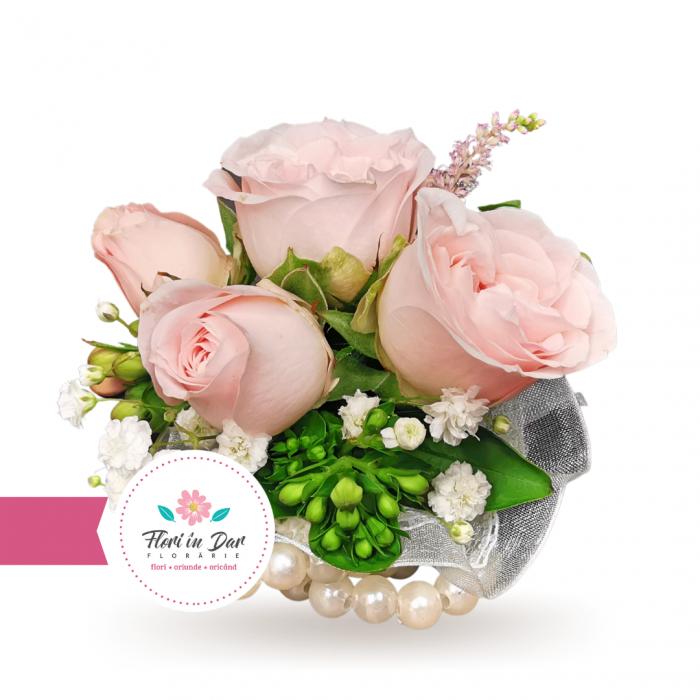 Bratara de mana corsaj flori naturale miniroze [0]