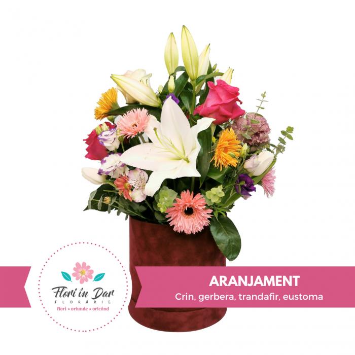 Aranjamente florale Roman cu Crin, gerbera, trandafir, eustoma [0]