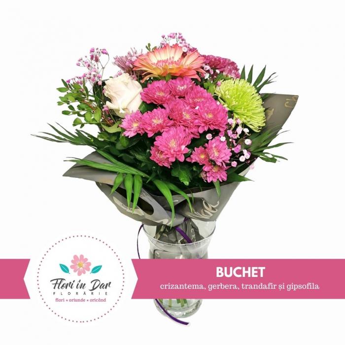 Buchet cu crizantema, gerbera, trandafir și gipsofila [0]