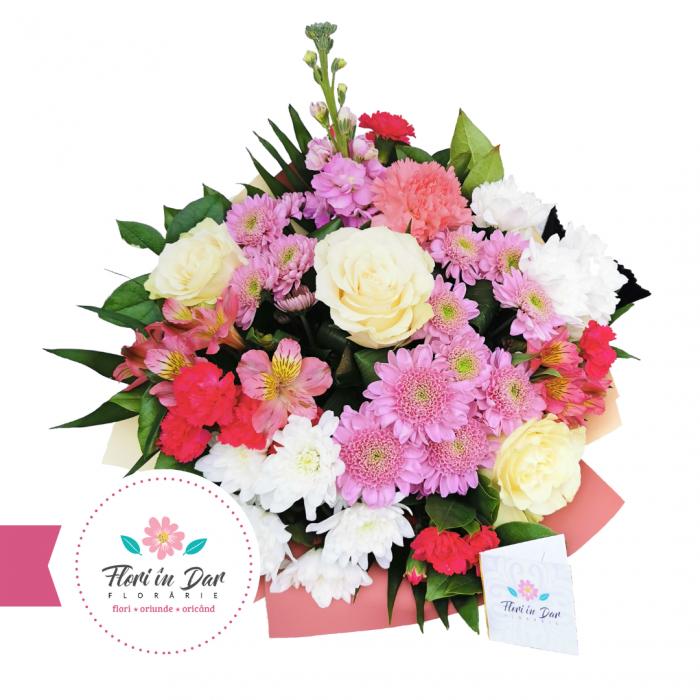 Buchet crizantema, mathiola, trandafir, dianthus, alstroemeria - Florarie Roman cu livrare [0]