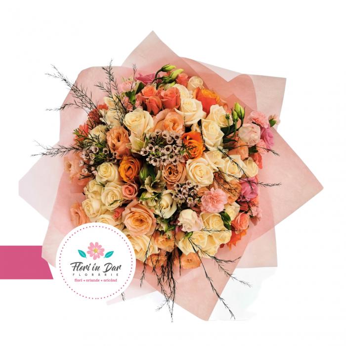 Buchet mix trandafiri,wax flower,eustoma,miniroze [1]