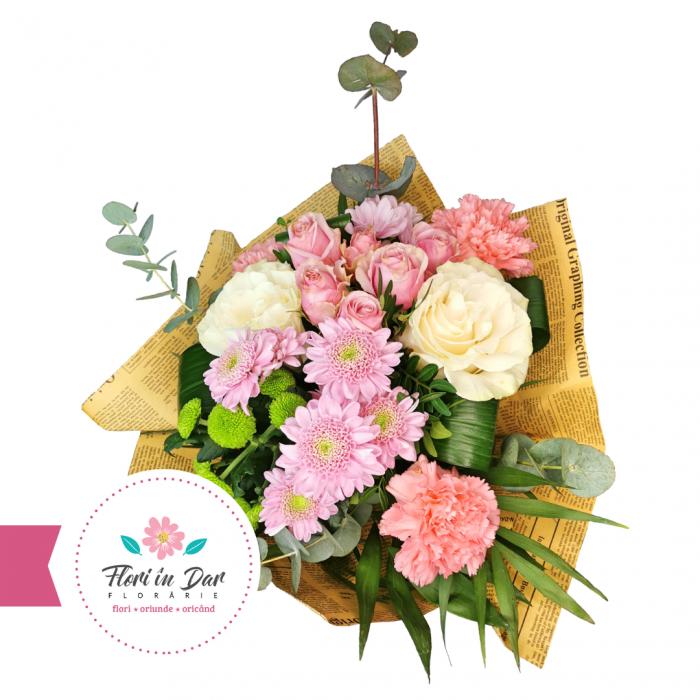 Buchet cu crizantema, trandafir, miniroze, garoafe florarie online Roman [1]