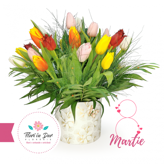 Aranjament lalele 8 martie florarie online Roman [0]