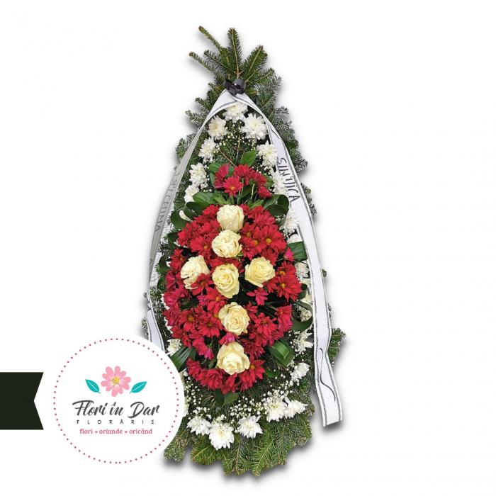 Coroana cu crizantema, gipsofila și trandafir Florarie Roman [0]
