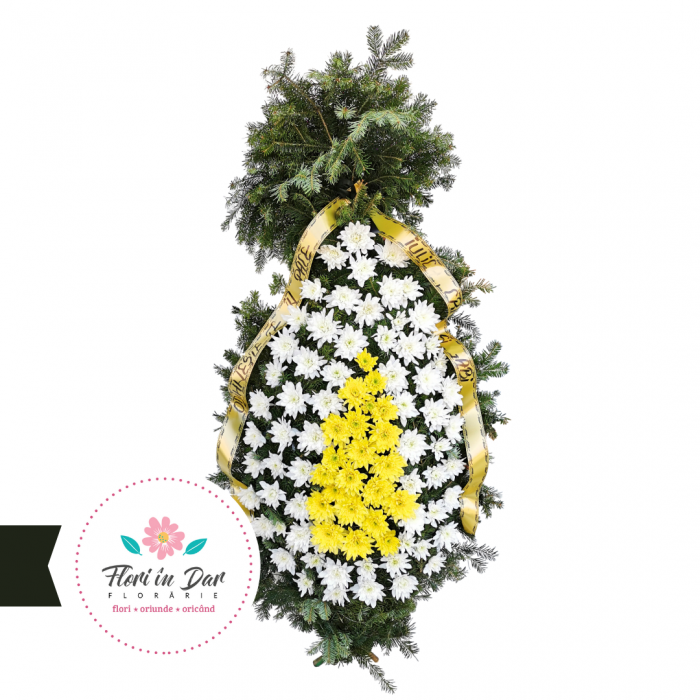 Coroana funerara din flori naturale crizantema florarie Roman [0]