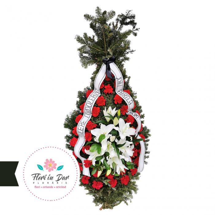 Coroana funerara garoafe si crini florarie Roman [0]