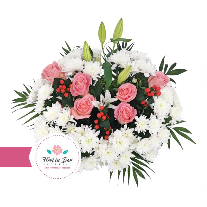 Jerba funerara cu crin crizantema trandafiri hipericum Roman [1]