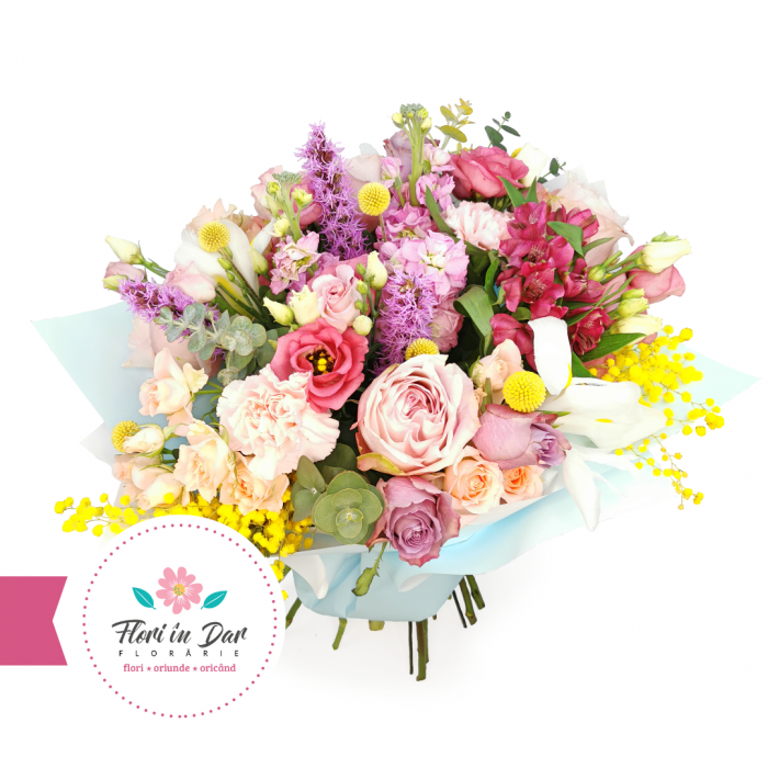 Buchet trandafir, eustoma, liathris,  eucalipt, mimosa, dianthus, craspedia,  alstroemeria [1]