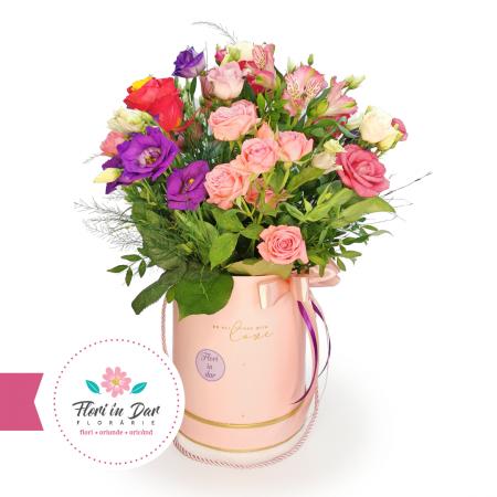 Aranjament cu miniroze, eustoma, alstroemeria, trandafiri floraire cu livrare Roman [0]