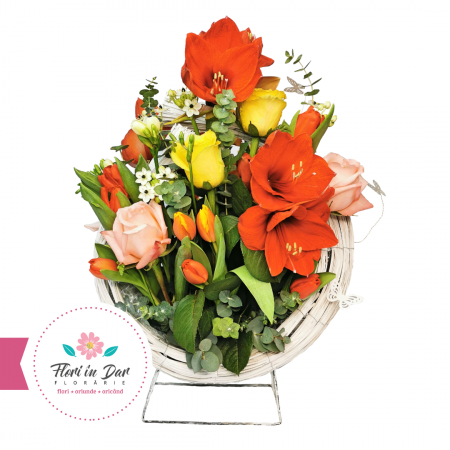 Aranjament cu amarilis, trandafiri, lalele, ornitogalum,aranjamente, florarie online Roman [0]