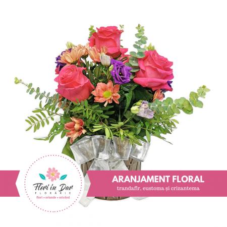 Aranjament floral trandafir,eustoma,criantema [0]
