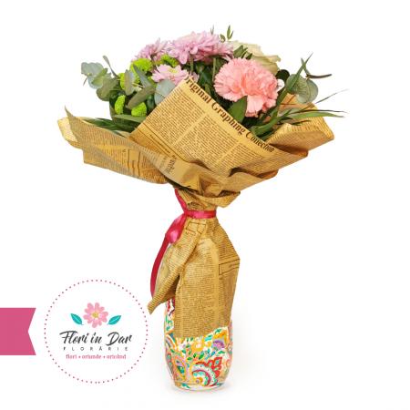 Buchet cu crizantema, trandafir, miniroze, garoafe florarie online Roman [0]